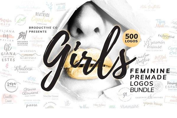 500 Feminine Premade Logos Bundle