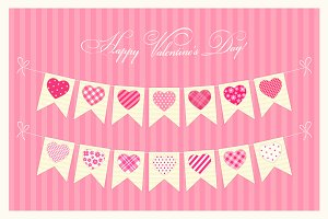Lovely bunting flags with hearts