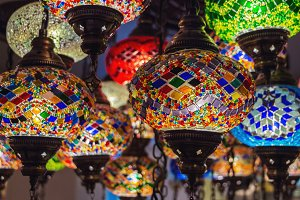 Colorful handmade Turkish lamps.
