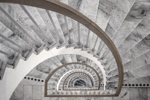Spiral marble staircase.
