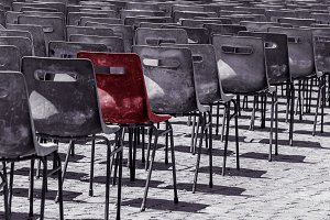 One chair standing out from others.
