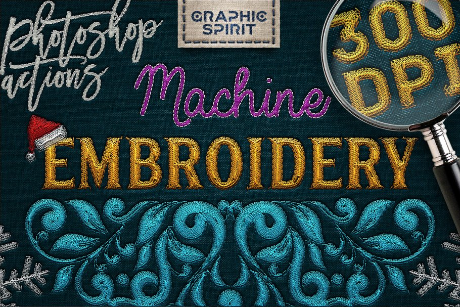 Machine Embroidery Photoshop Actions ~ Photoshop Add-Ons