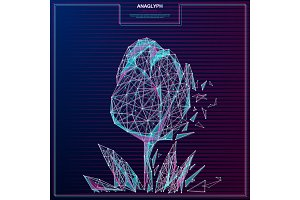 flower low poly anaglyph