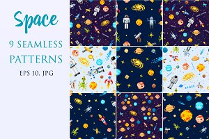 Space Seamless Pattern Set.