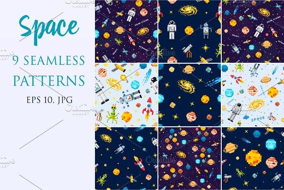 Space Seamless Pattern Set