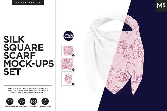 Silk Square Scarf Mock-ups Set