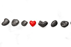Red heart black stones Love