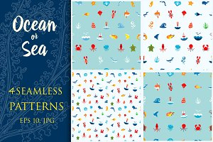 Seamless Pattern Ocean or Sea.