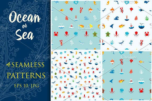 Seamless Pattern Ocean Or Sea
