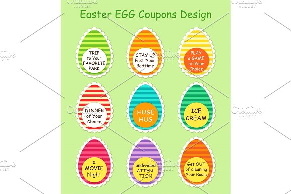 Cute And Bright Easter Hunt Egg Coupons Design