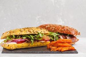 Sandwiches with ciabatta