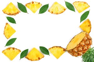 Sliced pineapple with leaves isolated on white background with copy space for your text. Top view