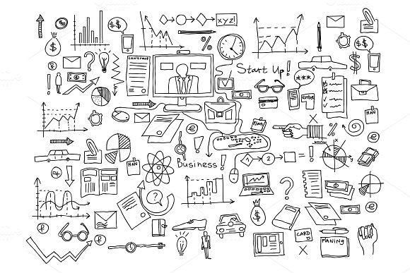 Hand Draw Doodle Elements Business Finance Chart Graph