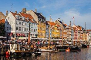 Street view of Nyhavn, Copenhagen.