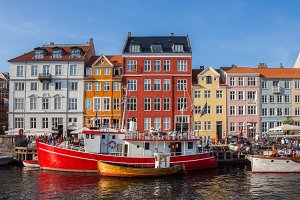 Street view of Nyhavn, Copenhagen.
