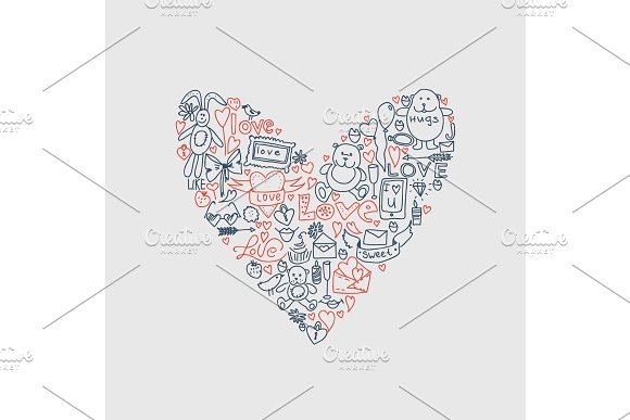 Hand Drawn Love Doodle Icons Vector Illustration