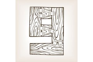 Wooden number 9 engraving vector illustration