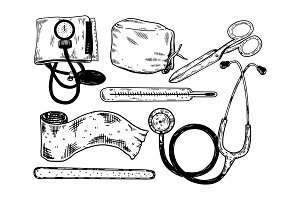 Doctor tools engraving vector illustration