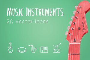 MUSIC INSTRUMENTS - vector line icon