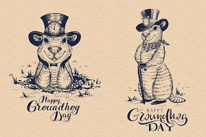 Happy Groundhog Day. Funny marmot
