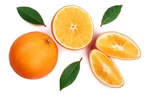 Orange with slice and leaf isolated on the white background. Flat lay pattern. Top view