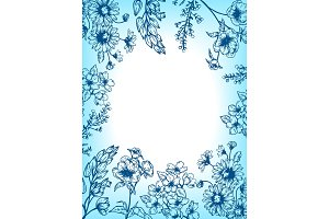 Flowers and plants engraving vector illustration