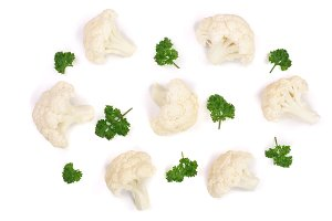 Piece of cauliflower with parsley isolated on white background. Top view. Flat lay