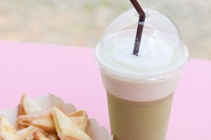 Frappe coffee and toast