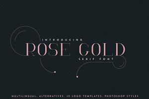 RoseGold Serif font + 10 Logos
