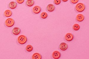 Pink and Red Button Heart