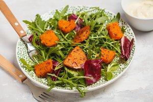 Salad of baked sweet potato