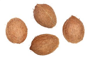 four whole coconut isolated on white background. Flat lay. Top view