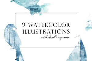 Watercolor blue illustrations