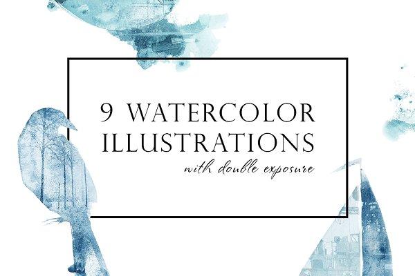 Watercolor blue illustrations