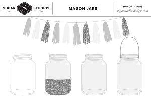 Mason Jar with Silver Tassel Clipart