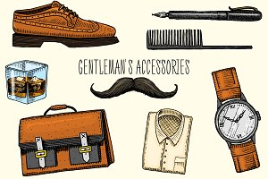 Gentleman Accessories. Hipster Set.