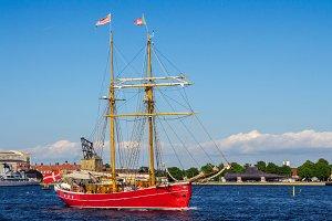Red ship in harbor, Copenhagen.