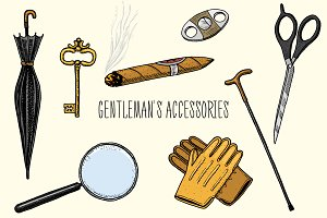 Gentleman Accessories. Hipster Set.