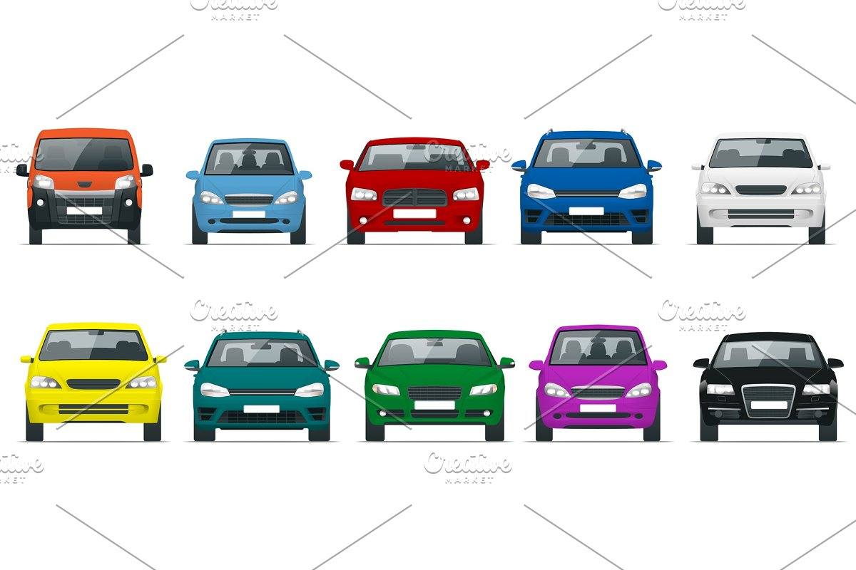 Car Front View Set Vehicles Driving In The City Vector Flat Style