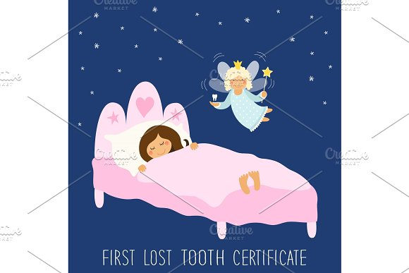 Cute hand drawn First Lost Tooth Certificate as sleeping kid and funny smiling cartoon character of tooth fairy in Objects