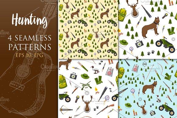 Hunting Seamless Pattern Set