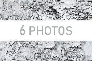 6 photos of cracked concrete texture