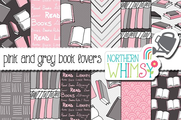 Book Lovers Pattern Pink Gray