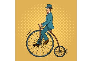 Gentleman ride vintage bicycle pop art vector