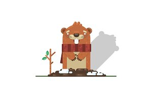 Happy Groundhog Day with Groundhog,Vector illustration