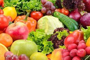 Panoramic fruits and vegetables
