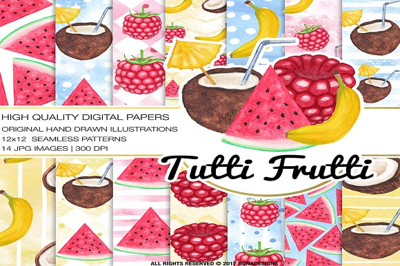 Watercolor Fruits Digital Paper