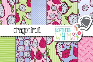 Dragonfruit Seamless Patterns