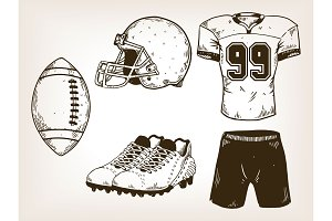 American football equipment engraving vector