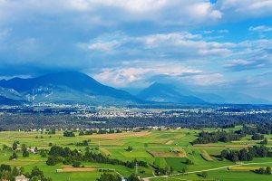 Picturesque village in Julian Alps.